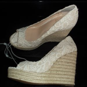 Vince Camuto Lace Crochet Nude Wedge sandal